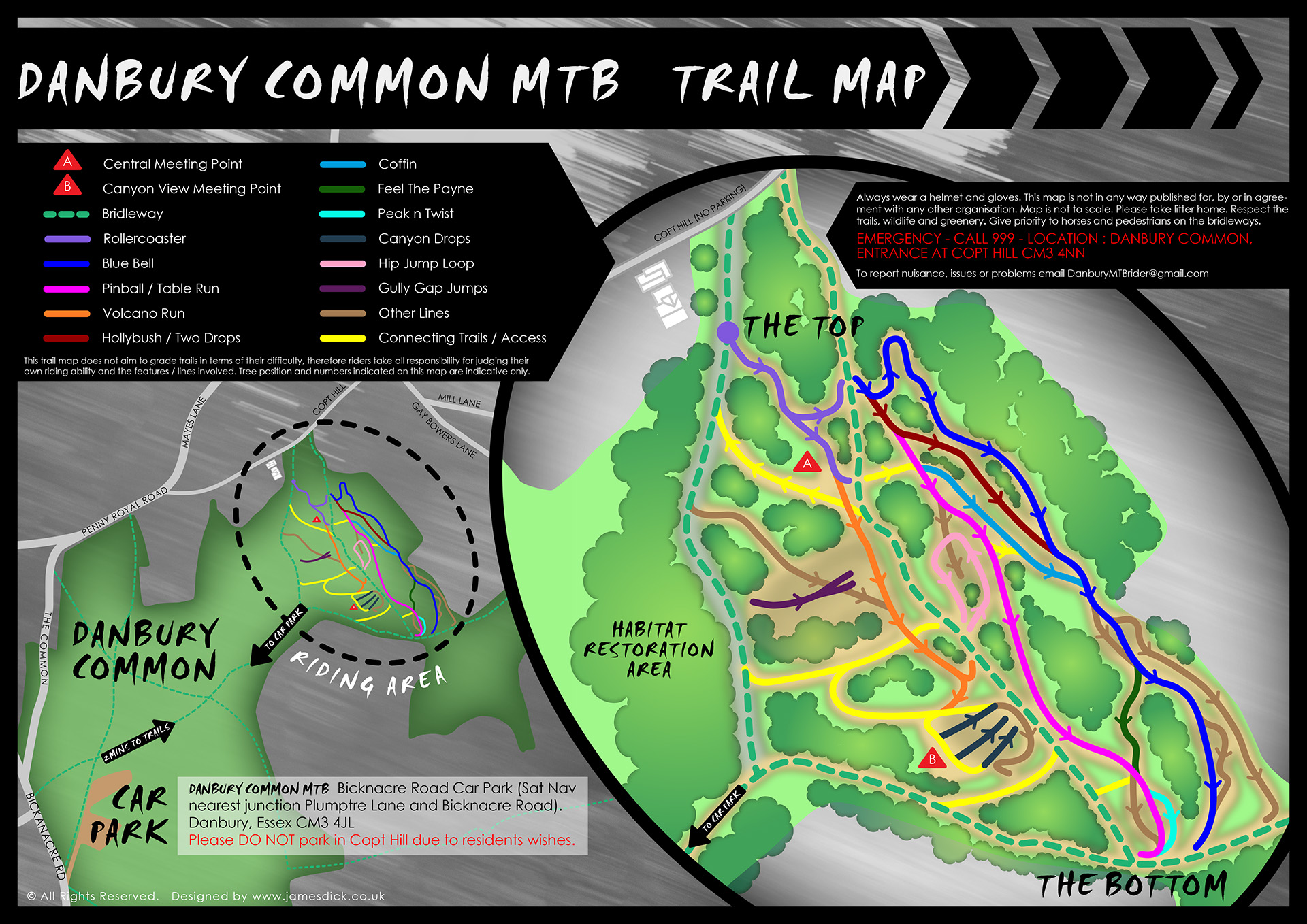 Danbury Common MTB trail map 007 highest